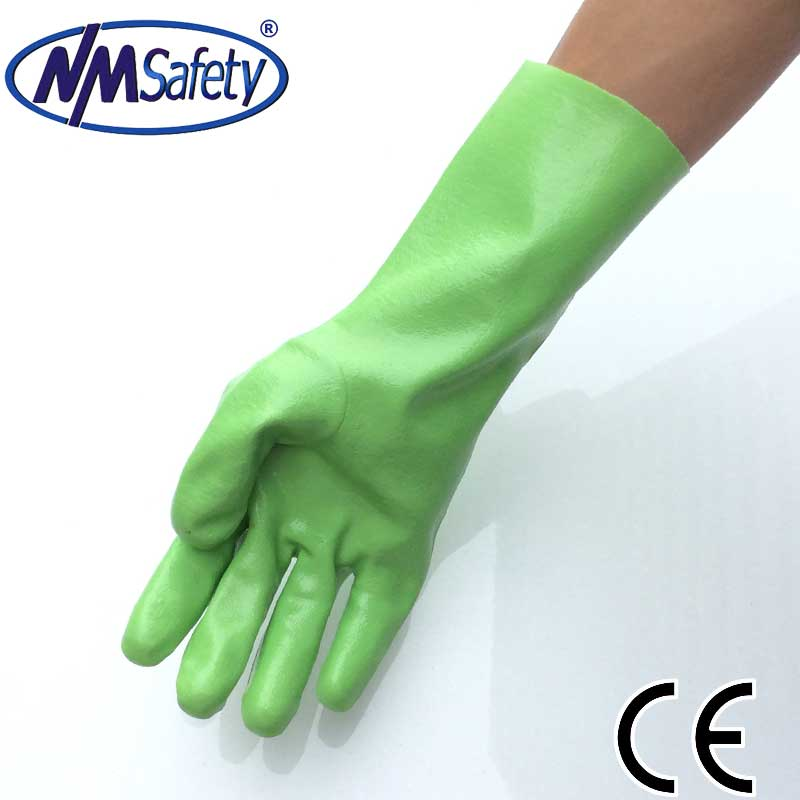 NMSAFETY Interlock liner Full dip gauntlet green pvc work gloves smooth palm Chemical resistance glove form China