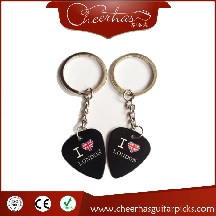 Hot sell double sides color print acoustic guitar picks key chain