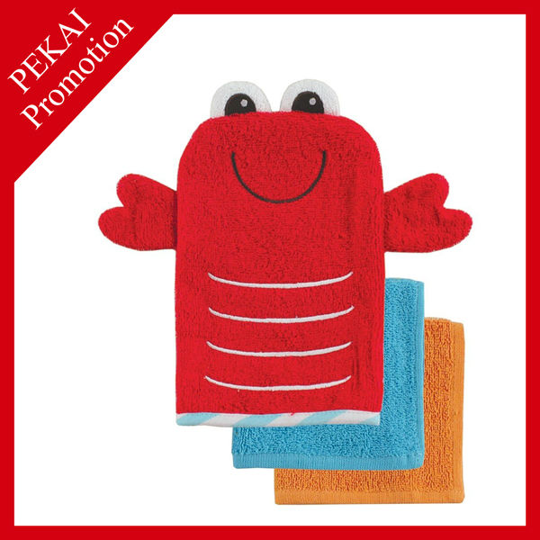 100% cotton terry cloth animal shaped baby bath sponge for kids