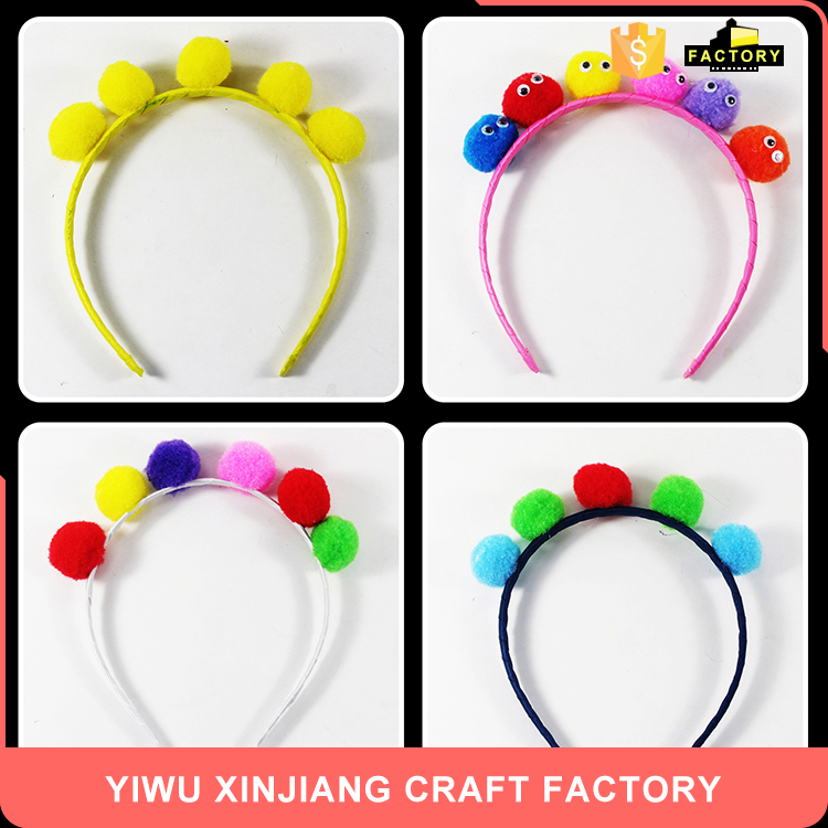 Best seller trendy style multicolor simple style pompon cute hair band toy