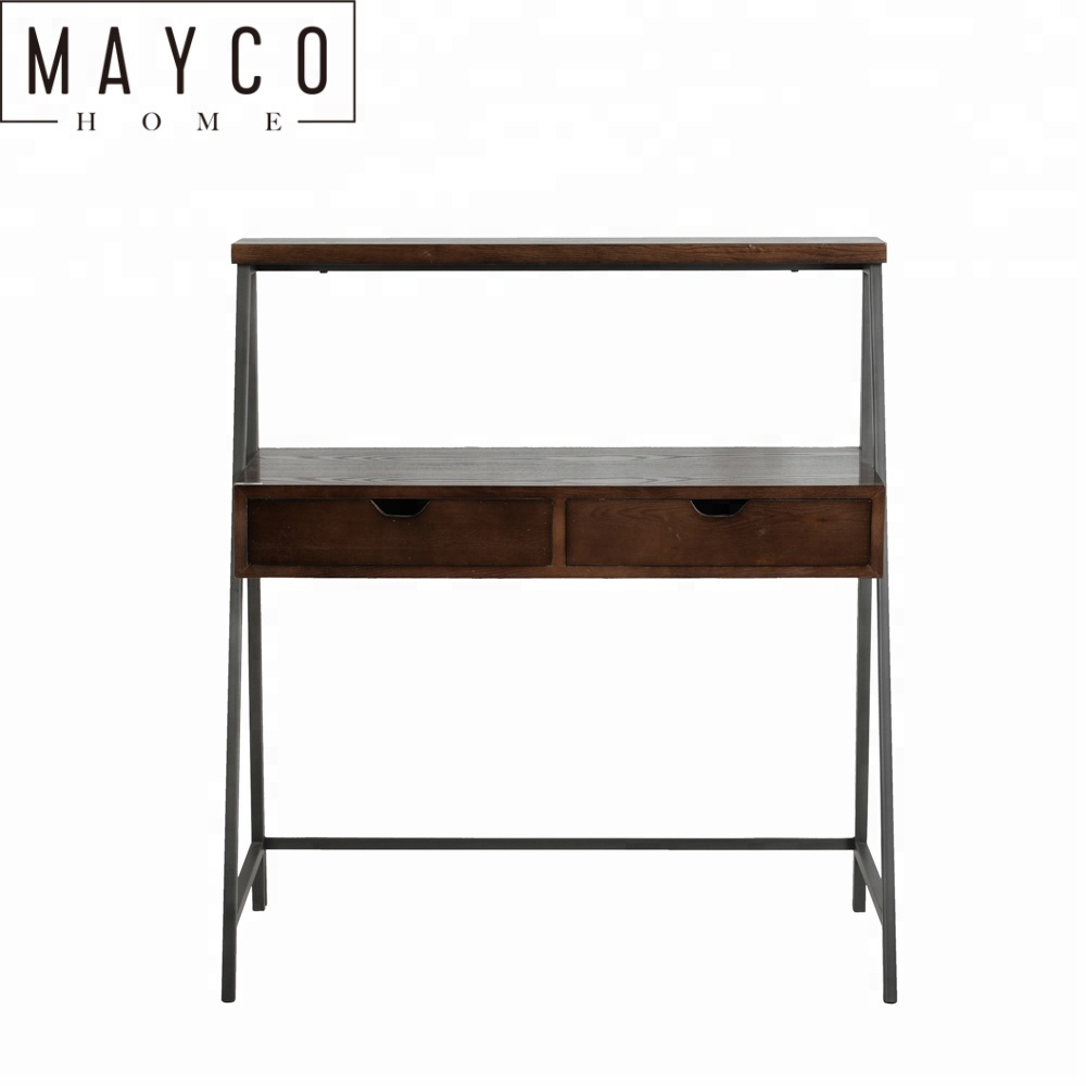 Mayco Antique Office Furniture Writing Desk with 2 Drawers in Dark Fir Wood Finish