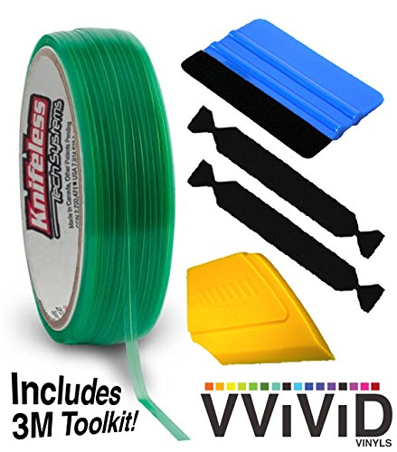 Knifeless Vinyl Wrap Cutting Tape Finishing Line 50M Plus 3M Toolkit (Blue Squeegee, Yellow Squeegee 2xBlack Felts)