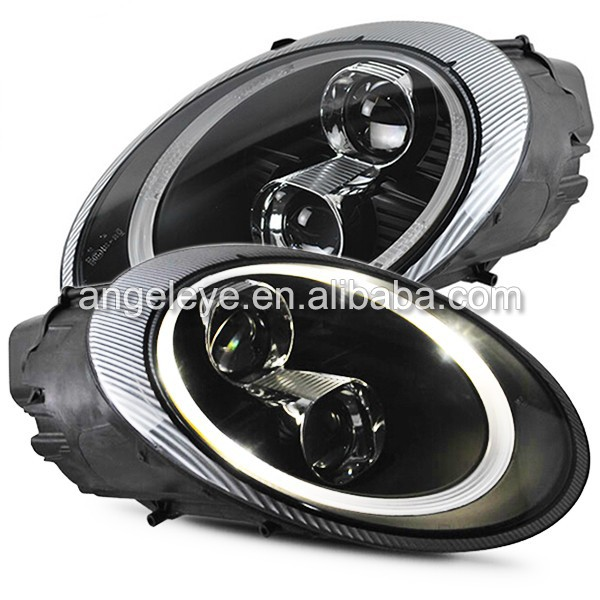 2006-2010 Year for Porsche 997 LED Head Lights with Bi Xenon Projector Lens Black Housing SN