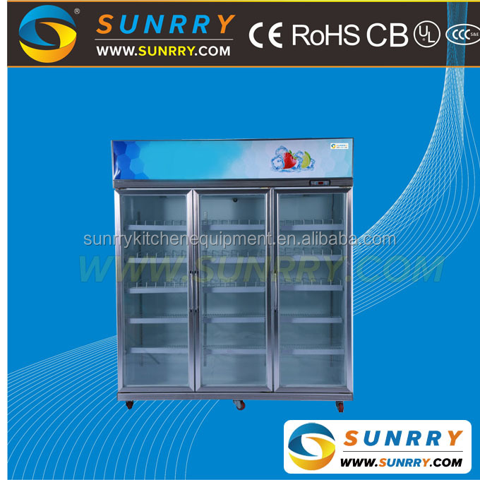 Supermarket super general deep retail freezer, 3 door glass freezer