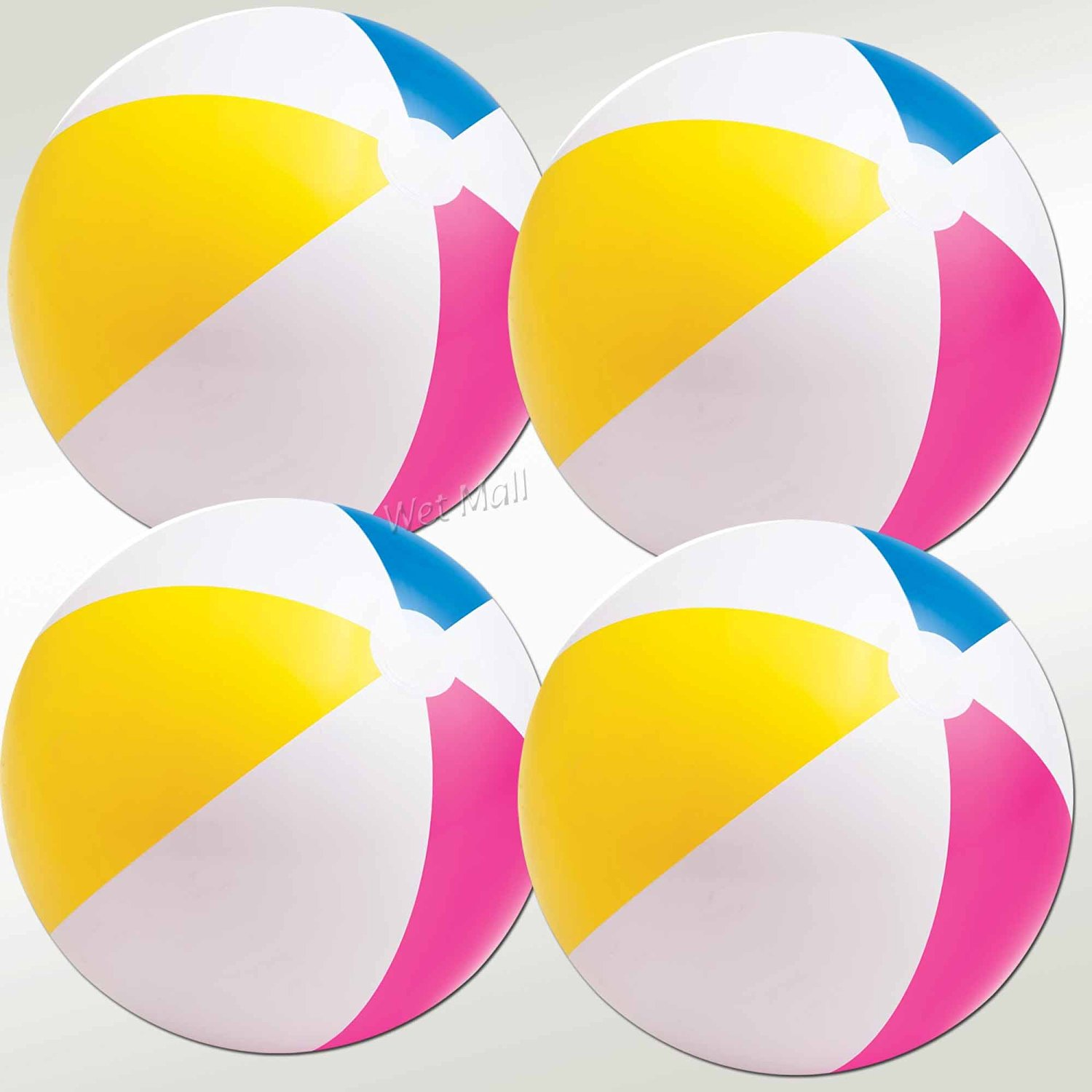 INTEX Classic Inflatable Glossy Panel Colorful Beach Ball (Set of 4)
