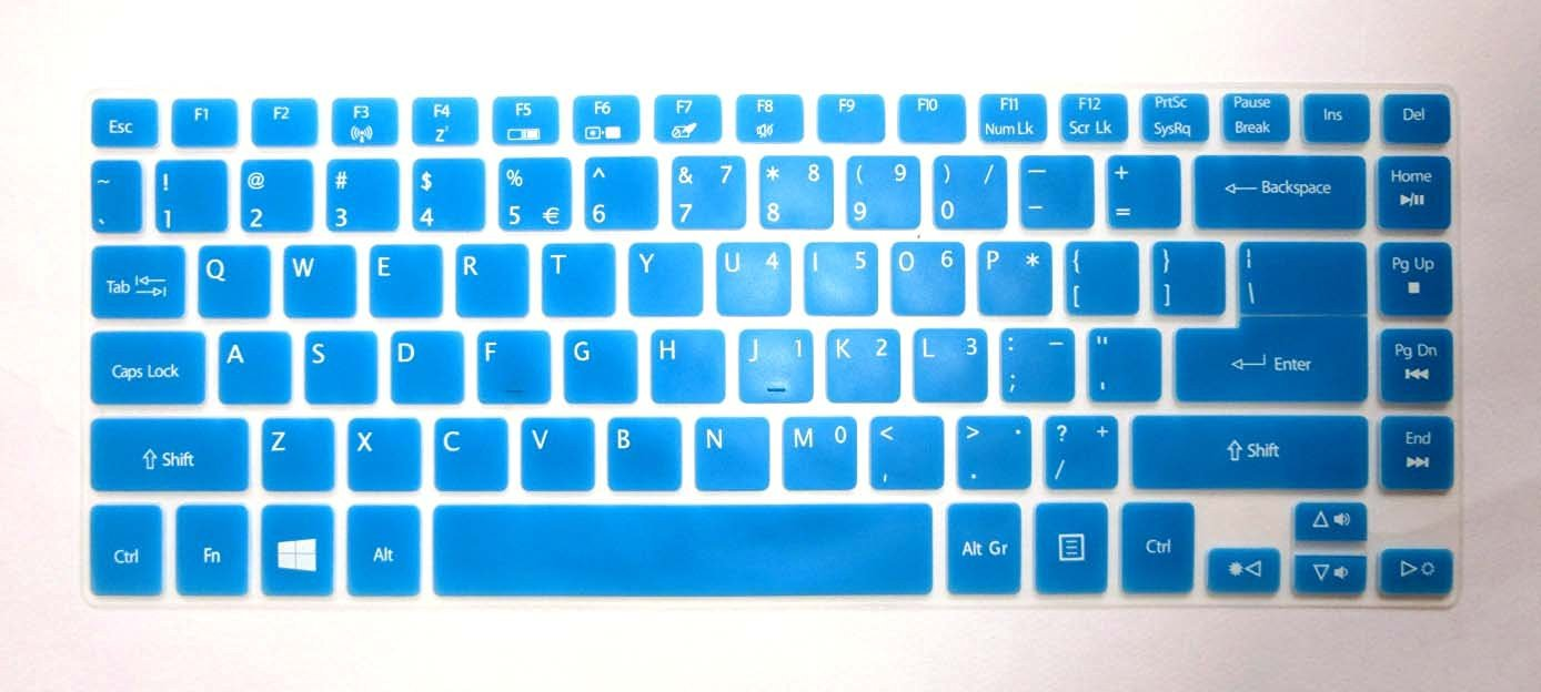 """BingoBuy® Semi-Blue Ultra Thin Soft High Quality Silicone Keyboard Protector Skin Cover for Acer Aspire V7-482P, V7-482PG, V5-473P, V5-472P, V5-472G, R3-471T (if your """"enter"""" key looks like """"7"""", our skin can't fit) with BingoBuy Card Case for Credit, Bank, ID Card"""