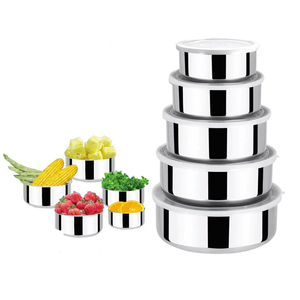 GDKINGKONG 5pcs stackable stainless steel crisper bowl set food container set with plastic lid