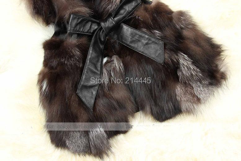 Естественная подлинная лисий мех жилет женщины настоящее мех жилет жилет желеты зима пальто куртка с ремень JN7930