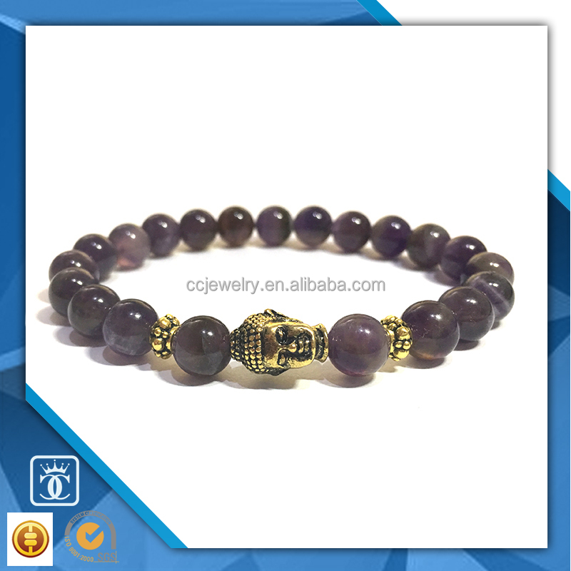 best seller of aliexpress amethyst buddha head semi precious stone bracelet