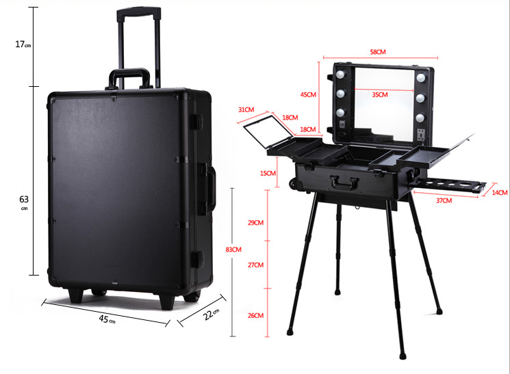 Professional Makeup Trolley Luggage Case Lighted Professinal Makeup