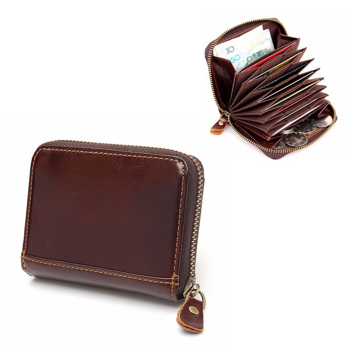 DAVITU RFID Blocking Coffee Leather Zipper Business Card Around Wallet Card Holder Coin Purse - Stationery Supplies - Binders & Folders