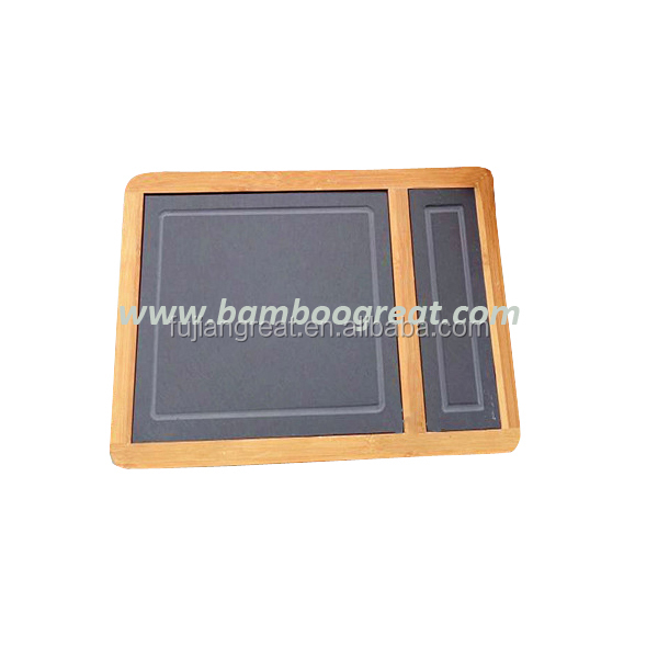 New style Eco-friendly Natural Whole Black Slate Stone Board Bamboo Plate
