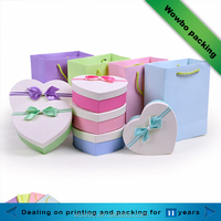 Sweety heart shape cardboard gift boxes with decorative bow