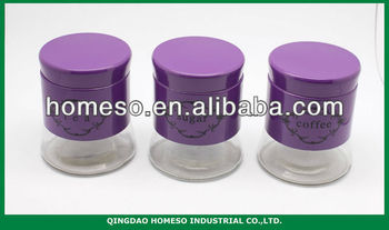 Purple Kitchen Stainless Steel Coated Glass Tea Sugar Coffee Canister Set