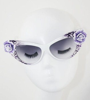 Multiple Color Available Inlay Flower Oval Eyeware Cateye Eye Decoration For Women Sunglasses