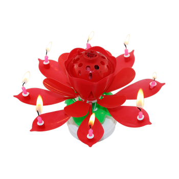 Multi Colored Color And Flower Shaped Rotating Music Birthday Candle Fireworks