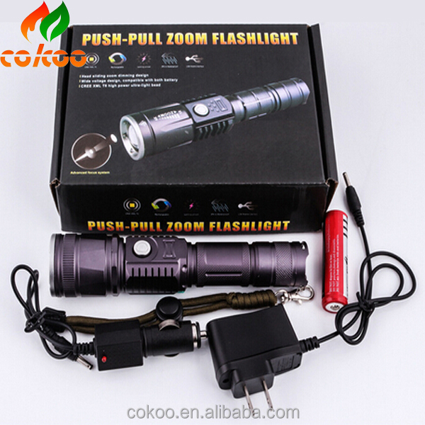 Promotion Bright 5 Modes led flashlight 3000 Lumen Zoomable XML T6 LED 18650 Flashlight Focus Torch Zoom Lamp Light