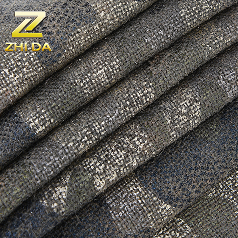 Newest bronzing fabric film coated  pattern jute fabric for canvas half apron