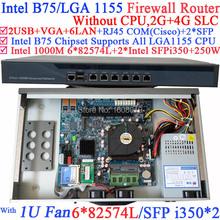 routerboard 1U Network Firewall Router with Six 1000M 82574L Gigabit NIC two intel i350 SFP fiber ports NO CPU 2G RAM 4G SLC