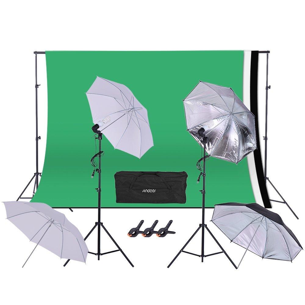 Andoer 1.6 3m/5.2 9.8ft Backdrop Support System + Studio Lighting Kit w/45W 110V Bulb + Swivel Socket + 2m/6.6ft Light Stand + Umbrella + 2 3m/6.6 9.8ft Background Stand + Clamp