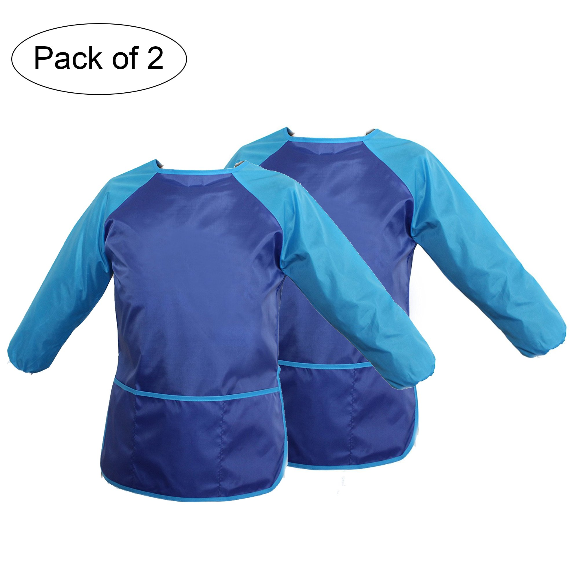 ilovebaby Children's Art Smock, Waterproof, Kids Aprons,Artist Smocks,Painting Apron with Long Sleeves,Ideal for Painting Classroom and Kitchen,Pack of 2,Color Blue