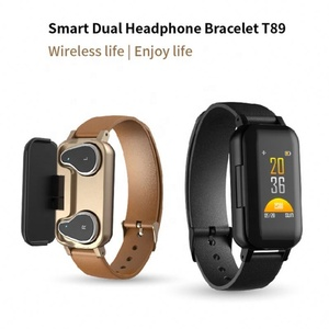 T89 Dual BT 5.0 TWS Earphone Smart Bracelet Heart Rate Blood Pressure Tracker Smart Watch Men For IOS Android Phones