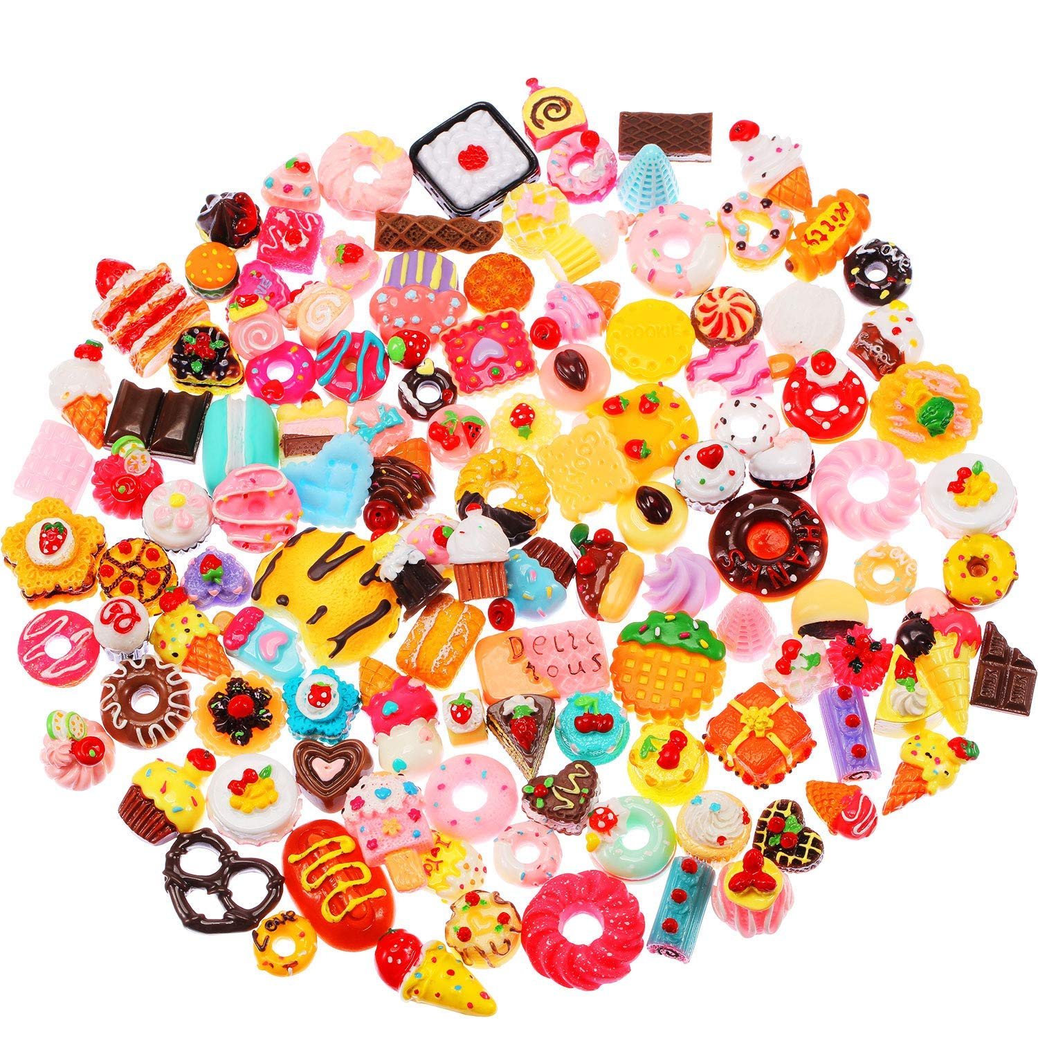 BBTO 120 Pieces Slime Charms Mixed Food Cake Ice-Cream Chocolate Cookie Dessert Resin Flatback Slime Beads Making Supplies for DIY Crafts