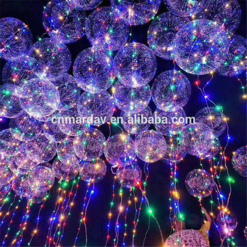 Clear Bubble Balloon With Led Strip Copper Wire Luminous Led Balloons For wedding Decorations Birthday Party Supplies