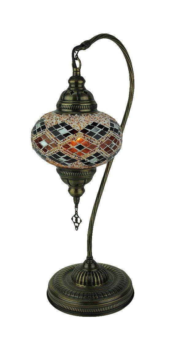 Metal & Glass Table Lamps Artistic Style Mosaic Half Heart Red And Orange Glass Accent Table Lamp 9.5 X 18.5 X 6.5 Inches Bronze