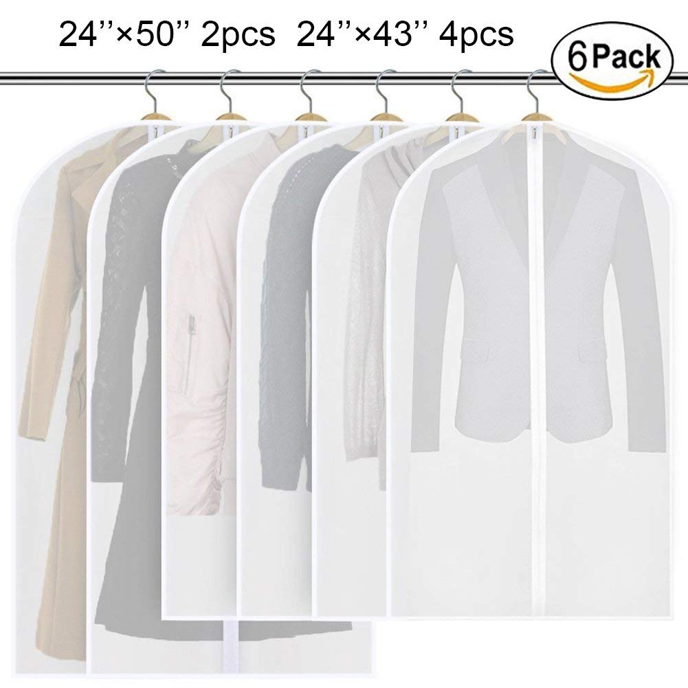 SESTP Clear Garment Bag Hanging Suit Cover Storage Bag Waterproof Lightweight Moth-proof with Study Full Zipper (Pack of 6) for Closet Storage and Travel