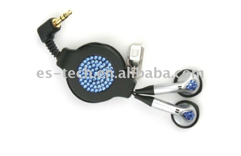 Retractable earphone with crystal