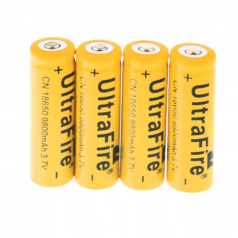 4pcs/lot 3 7V 18650 UltraFire 9800mAh Li-ion Rechargeable Battery For  Flashlight Torch Free Shipping
