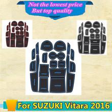 High Quality car styling Groove Gate Slot Armrest Storage Rubber non-slip mats inner door pad/cup 17pcs for SUZUKI Vitara 2016