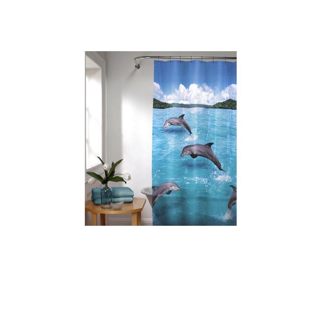 1 Piece Playful Jumping Blue Dolphin Themed Shower Curtain Ocean Water Splash Beach Bathroom Pattern