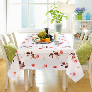 hot sale waterproof transparent PVC free printed plastic table cloth with lace