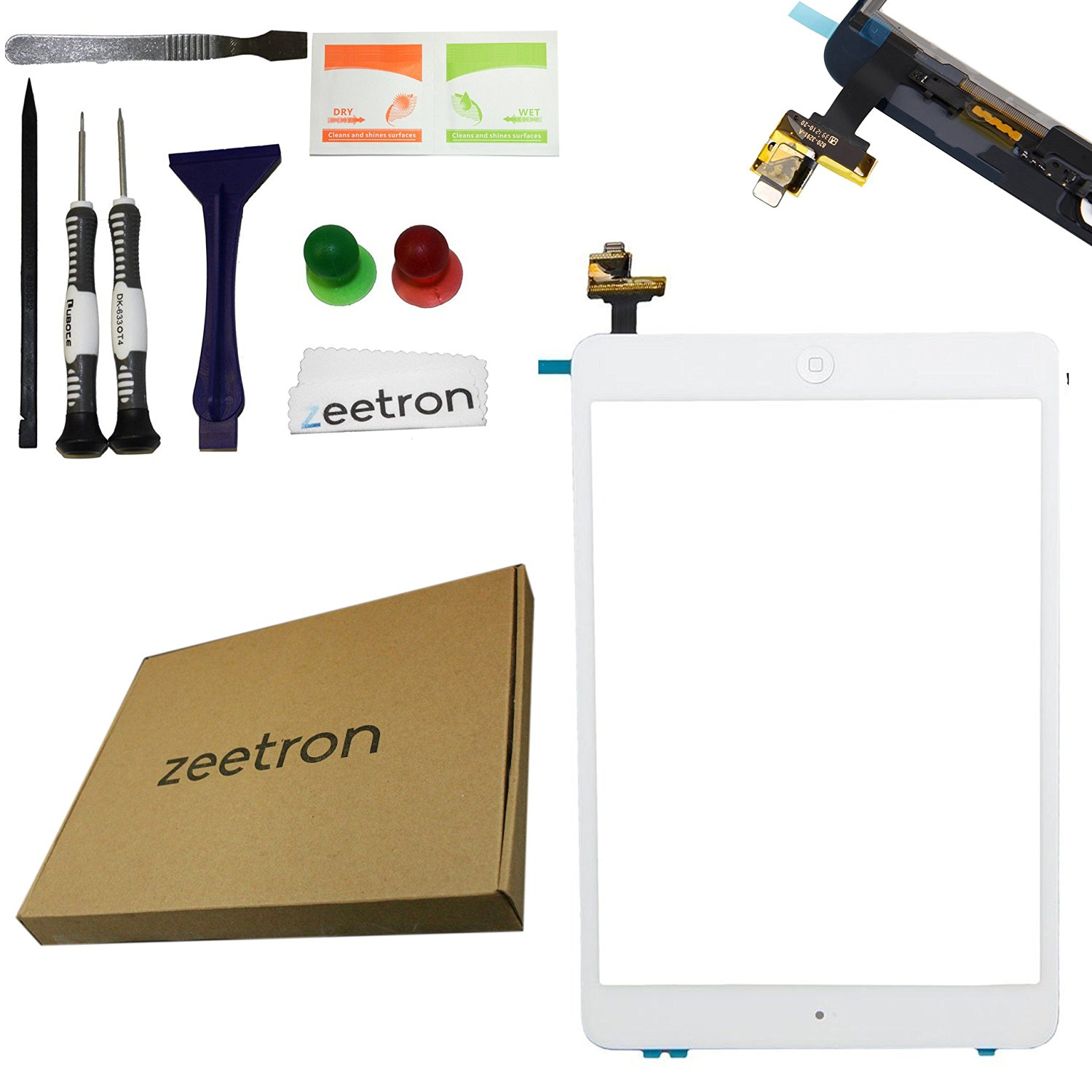 Zeetron Replacement Glass Digitizer Full Assembly Repair Kit for Ipad Mini White (Ic Chip Module + Home Button + Flex Cable + Adhesive + Tool Kit Included)