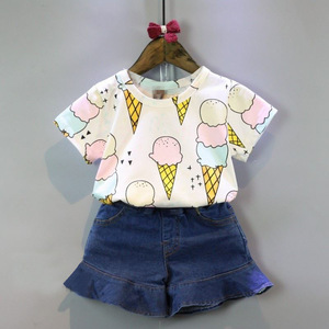 Haobaby,2019 Korean Baby gril Clothing Sets /Childrens Clothing Girls Summer new Style Printed Ice Cream.