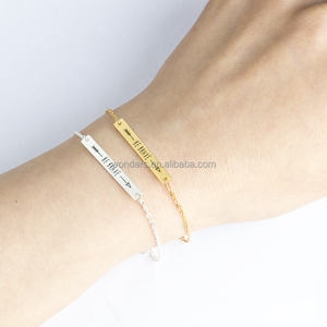 Boho Bracelet Jewellery Women Engrave Be Brave Charm Bracelet 304 Stainless Steel Cuff Bangles Simple But Elegant Accessories