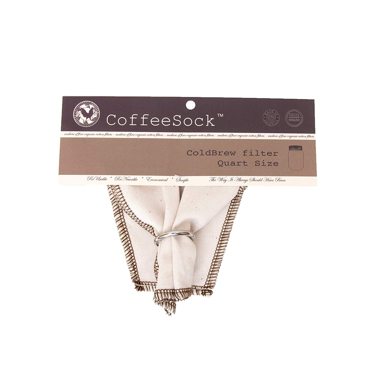 CoffeeSock ColdBrew Filter - GOTS Certified Organic Cotton Reusable Coffee Filter (32 OUNCE)