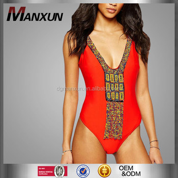 Alibaba New Summer Swimming's Wear Lady Girl Clothing Deep V-neck Swimsuit One Piece Beachwear Red Tassel Details Apparel