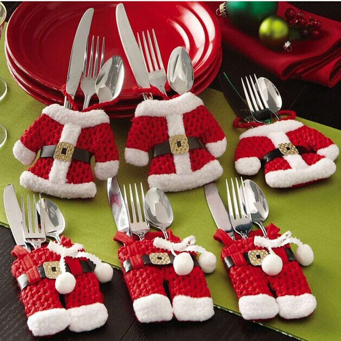 2016  6Pcs/lot Christmas Decoration For Home Silverware Holdersanta Pockets Dinner Knife Fork Holders Santa Claus Christmas