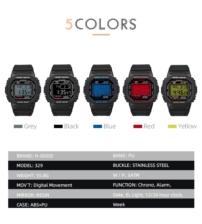2019 Amazon Hot shock resistance watch with pu leather bracelet ODM/OEM available H-GOOD 329