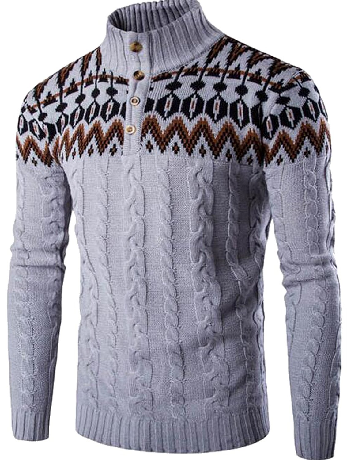 Fensajomon Mens Knit Christmas Printing Round Neck Pullover Sweater Jumper Top