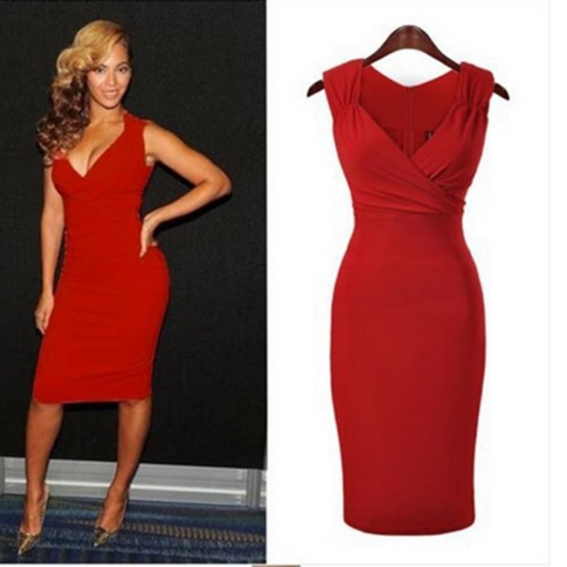 9de685c88 Red-color-women-sleeveless-celebrity-bandage-bodycon vestidos ajustados por  la rodilla