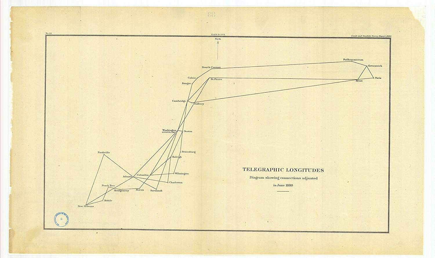 8 x 12 inch 1880 Maine Old Nautical map Drawing Chart Telegraphic Longitudes Diagram Showing Connections Adjusted in June 1880 from US Coast & Geodetic Survey x6336