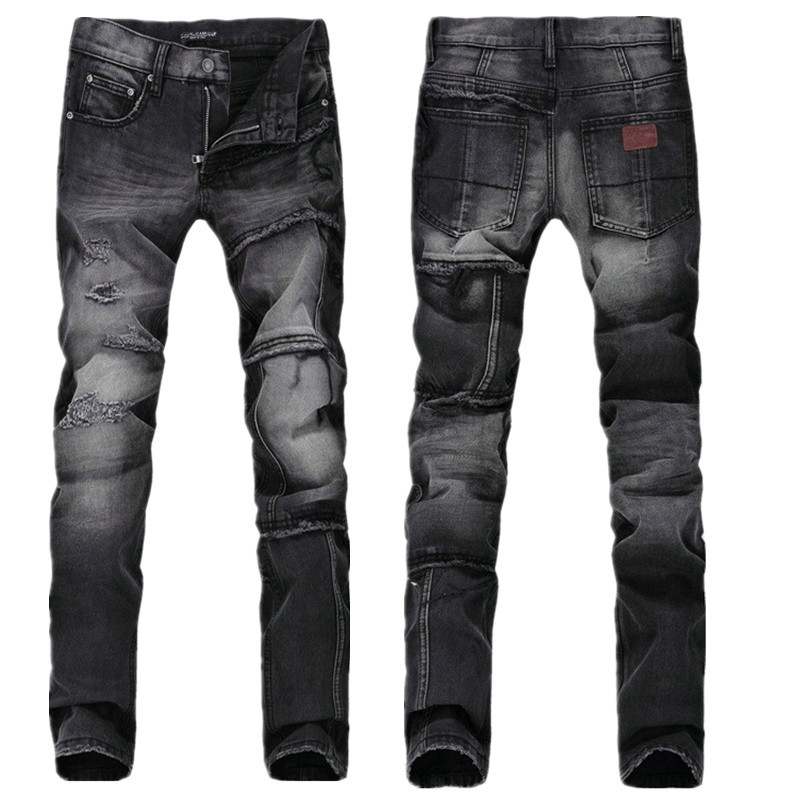 a20798e9e56 Get Quotations · 2015 New Fashion Men`s Distressed Slim Jeans With Holes  Heavy Washed Vintage Casual Black