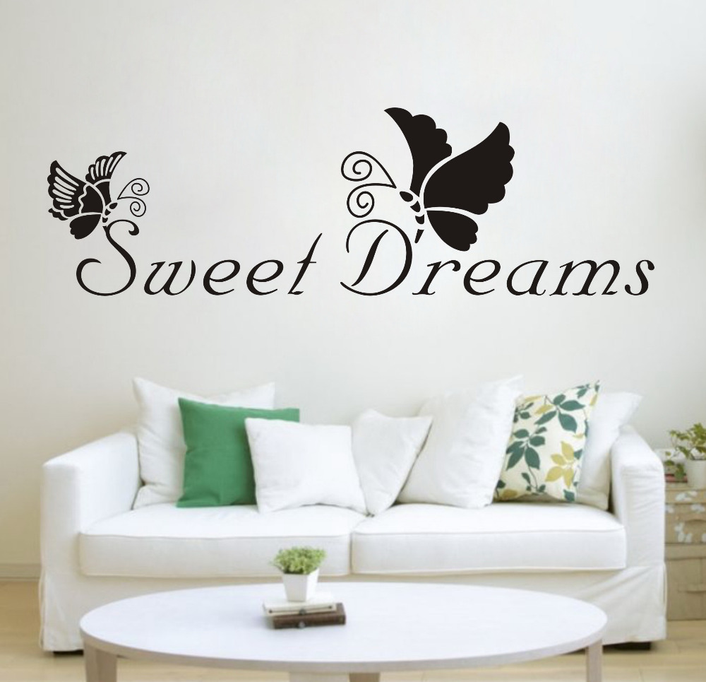 Black butterfly sweet dreams removable vinyl wall sticker - Removable wall stickers living room ...