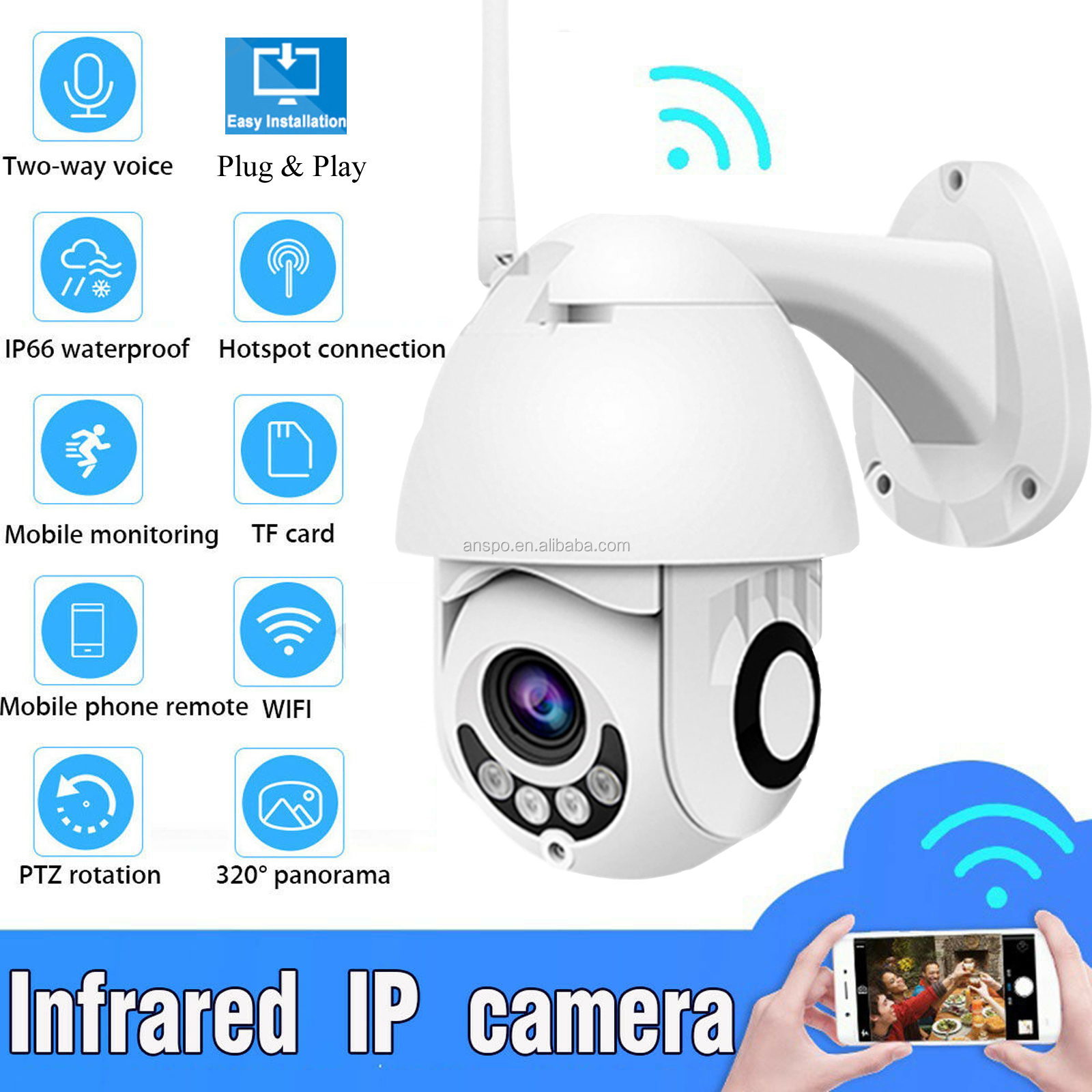 Wifi PTZ Camera  wifi wireless Camera waterproof Smart Home 1080 P2P outdoor