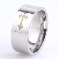 8mm width deep engraved black silver wholesale stainless steel maltese cross ring