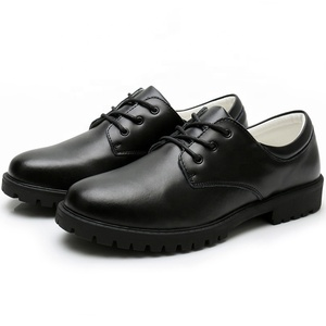 OEM factory good price Classic lace-up big size leather black school shoes for student